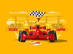 Sport car formula one - stock illustration