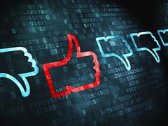 Social network concept: Thumb Up, Down on digital background - stock illustration
