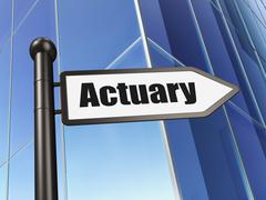 Insurance concept: sign Actuary on Building background Stock Illustration