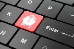 Tourism concept: Ship on computer keyboard background Stock Illustration