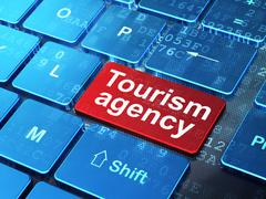 Tourism concept: Tourism Agency on computer keyboard background Stock Illustration
