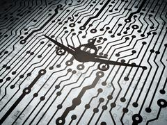Vacation concept: circuit board with Aircraft - stock illustration