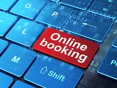 Tourism concept: Online Booking on computer keyboard background Stock Illustration