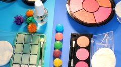 Turning Table - Cosmetics - Painting palette 07 - stock footage