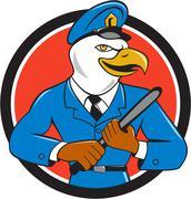 Bald Eagle Policeman Baton Circle Cartoon Stock Illustration