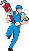 Plumber Running Monkey Wrench Cartoon Stock Illustration