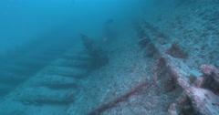 Ocean scenery large open hull, on wreckage, 4K UltraHD, UP36184 Stock Footage
