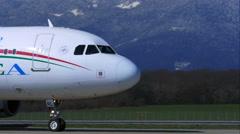 4K air plane at Geneva airport - stock footage