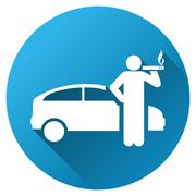 Smoking Taxi Driver Gradient Round Vector Icon - stock illustration