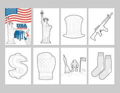 USA coloring book. Patriotic Illustrations in linear style of painting. Statu - stock illustration