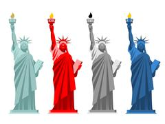 Statue of Liberty set. Colorful attraction in America. Color options for USA  - stock illustration