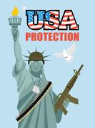 Statue of Liberty and automatic. Military sculpture in America. Dove symbol o - stock illustration