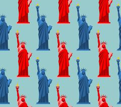 Statue of Liberty seamless pattern. USA national symbol background. Texture o - stock illustration