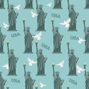 Statue of Liberty and pigeon seamless pattern. National symbol of America bac Stock Illustration