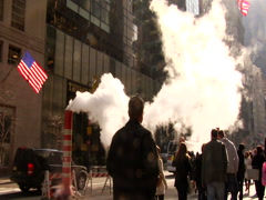 New York Subway smoke. NY atmospheric clip of people walking in city  - stock footage