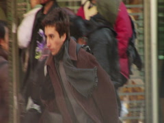 Young man running late Stock Footage