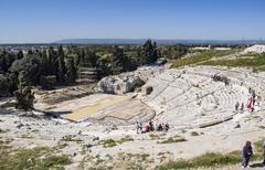 Greek Amphitheater in Siracusa - stock photo