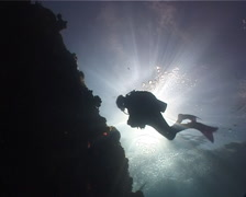 Lone diver hovering on shallow wall in Fiji Islands, UP1519 Stock Footage