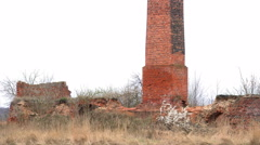 Ruins of an old, abandoned brickyard. 4K camera pan. Stock Footage