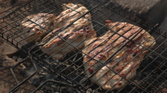 steak of turkey breast on the grill - stock footage