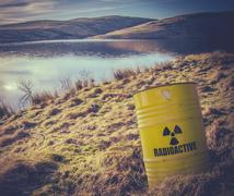 Radioactive Waste Near Water Stock Photos