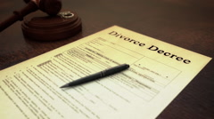 Divorce Paper Move from Gavel Stock Footage
