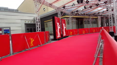 Berlinale film festival, empty red carpet, Zoo Palast theatre entrance, Berlin Stock Footage