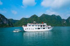 Cruise boat in Halong Bay - stock photo