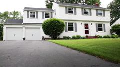 Rising on White Suburban Home Stock Footage