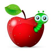 worm coming out of an apple - stock illustration