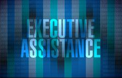 Executive assistance binary sign concept Stock Illustration