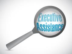 executive assistance magnify glass sign concept - stock illustration