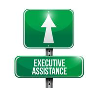 executive assistance road sign concept - stock illustration