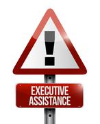 executive assistance warning sign concept - stock illustration