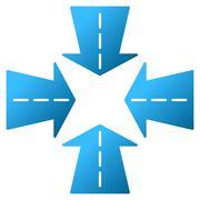 Merge Directions Gradient Vector Icon - stock illustration