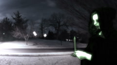 ghost at night in snow weird cool - stock footage
