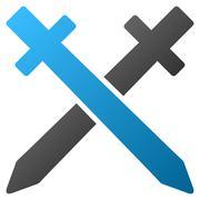 Crossing Swords Gradient Vector Icon - stock illustration