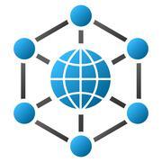 Global Web Nodes Gradient Vector Icon Stock Illustration