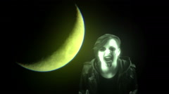 ghost with moon ghostly halloween - stock footage