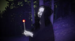 ghost woman night forest scary spooky - stock footage