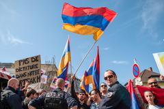 Azerbaijan Armenia conflict protest - stock photo