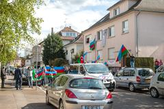 Azerbaijan Armenia conflict protest in front of Embassy - stock photo