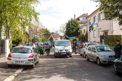Azerbaijan Armenia conflict protest in front of Embassy Stock Photos