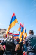 Azerbaijan Armenia conflict protest - stock photo