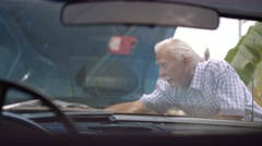 5-Old Man Grandpa Fixing Car Engine With Boy Stock Footage