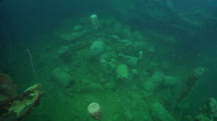Ocean scenery deck full of unexploded ordnance, Munitions and Explosives of Stock Footage