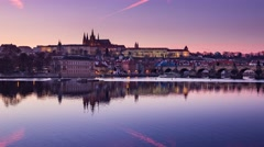 4k timelapse, panoramic view on Vltava river and St.Vitus cathedral, Prague Stock Footage