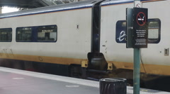 Eurostar train on platform Stock Footage