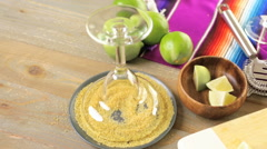 Classic lime margarita with garnish lime and turbinado sugar for Fiesta. Stock Footage