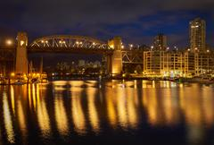 Burrard Bridge Night, Vancouver - stock photo
